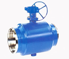 Fully-weled structure trunnion type ball valve